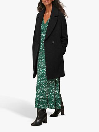 Whistles Boucle Double Breasted Coat, Black