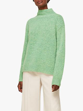 Whistles Erica Funnel Neck Jumper, Pale Green
