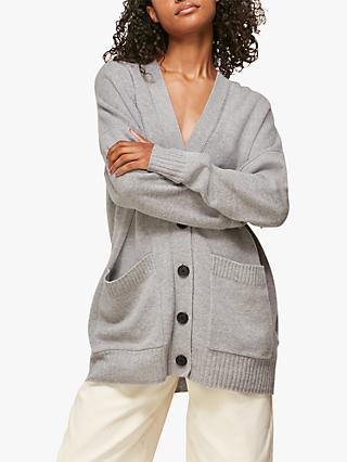 Whistles Longline Patch Pockets Cardigan, Grey