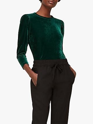 Whistles Velvet Top, Dark Green