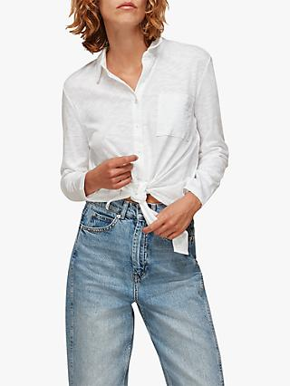 Whistles Button Front Knot Hem Shirt, White