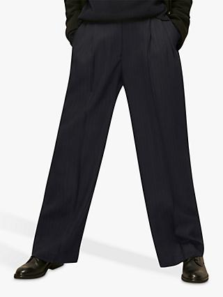 Whistles Pinstripe Trousers, Navy
