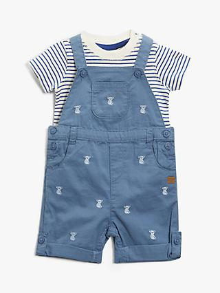 John Lewis & Partners Baby Koala Short Dungarees and Top Set, Blue