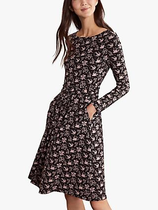 Boden Abigail Floral Knee Length Dress, Black