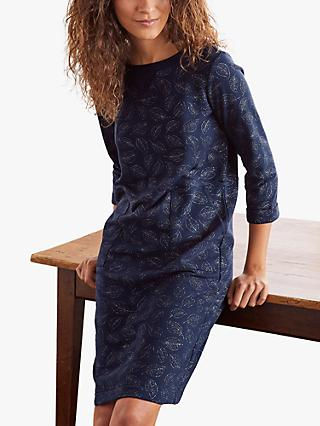 Boden Hannah Glitter Leaves Sweatshirt Dress, Navy