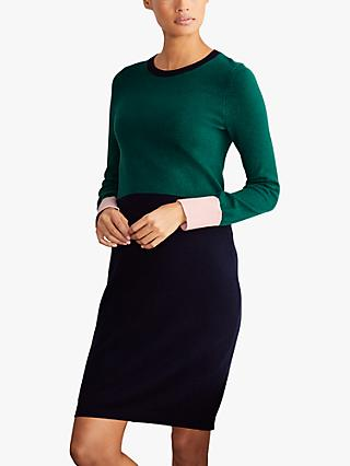 Boden Frederica Colour Block Dress, Deep Forest