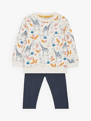 ANYDAY John Lewis & Partners Baby Organic Cotton Giraffe Top and Leggings Set, Gardenia/Charcoal