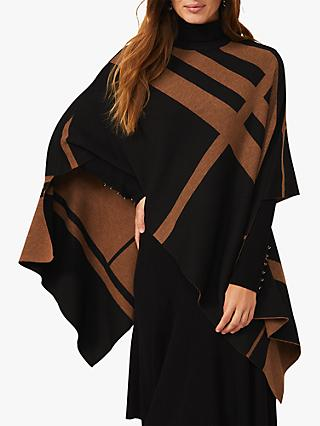 Phase Eight Nel Asymmetric Stripe Cape, Black/Camel