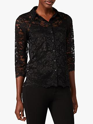 Phase Eight Gabby Lace Blouse, Black