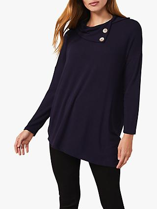 Phase Eight Billie Cowl Neck Jersey Top, Navy