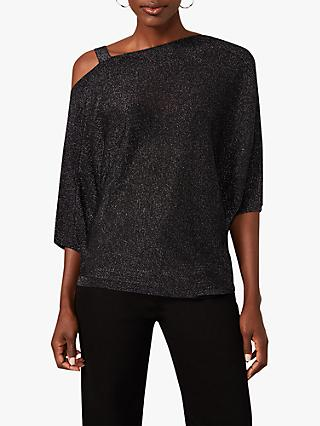 Phase Eight Aine Shimmer Asymmetric Shoulder Top, Gunmetal