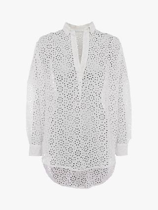 French Connection Agee Broderie Anglaise Popover Shirt, Summer White