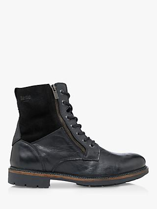 Bertie Club Shearling Lined Leather Worker Boots, Black