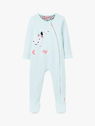 Baby Joule Zippy Dog Zip Babygrow, Light Blue