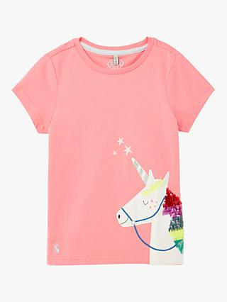Little Joule Kids' Astra Unicorn T-Shirt, Mid Pink