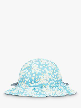 Baby Joule Lindsey Floral Print Reversible Sun Hat, Light Blue