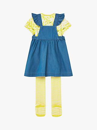 Baby Joule Marielle Pinny, Bodysuit and Tights Set, Light Yellow/Blue