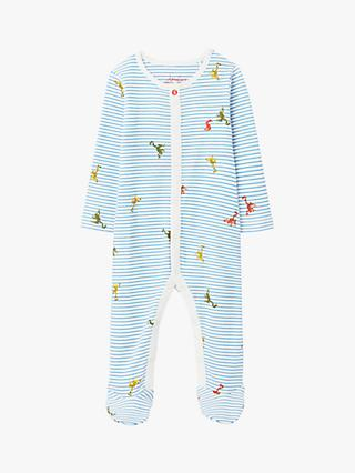 Baby Joule Ziggy Striped Frog Print Babygrow, Light Blue