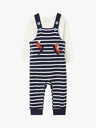 Baby Joule Wilbur Dungaree Set, Navy