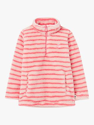 Little Joule Girls' Merridie Cosy Fleece Half Zip Stripe Jumper, Pink