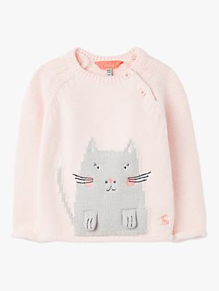 Baby Joule Beau Cat Knit Jumper, Light Pink