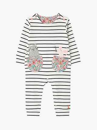 Baby Joule Gracie Cat Mouse Stripe Babygrow, Multi