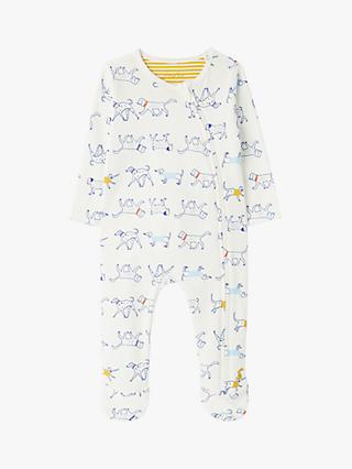 Baby Joule Zippy Dog Print Babygrow, White