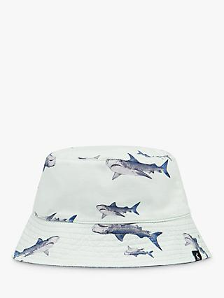 Little Joule Kids' Brit Shark Print Reversible Bucket Hat, Light Blue