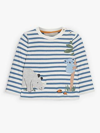 John Lewis & Partners Baby Rhino Koala Stripe Top, Blue/White