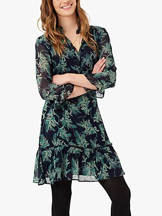Brora Silk Floral Shirt Dress, Carbon