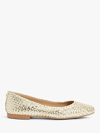 John Lewis & Partners Holly Leather Woven Ballerina Pumps