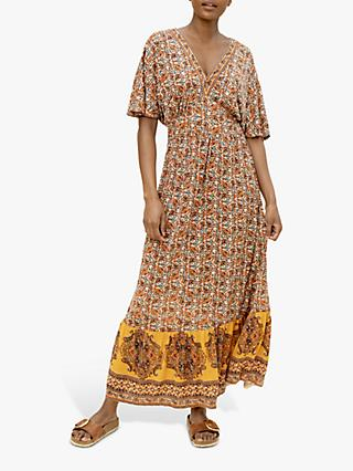 East Luna Floral Print Maxi Dress, Orange