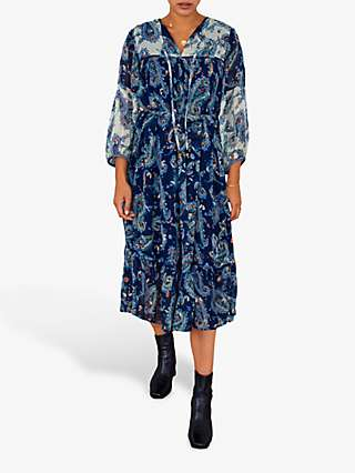 East Shikha Paisley Print Midi Dress