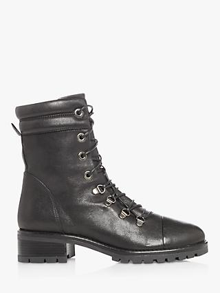 Dune Paz Leather Lace Up Biker Boots