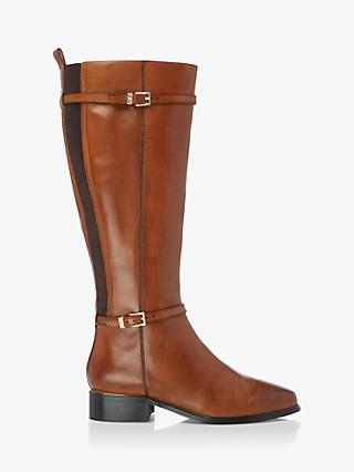 Dune Top Leather Double Buckle Knee High Boots