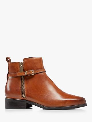Dune Pop Buckle Trim Leather Ankle Boots