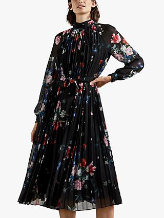 Ted Baker Naniro Floral Plisse Midi Dress, Black/Multi