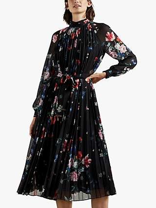 Ted Baker Naniro Floral Plisse Midi Dress, Black/Multi