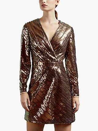 Ted Baker Pipii Stripe Sequin Dress, Light Pink