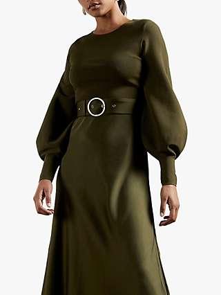 Ted Baker Gwenii Belted Midi Dress, Khaki