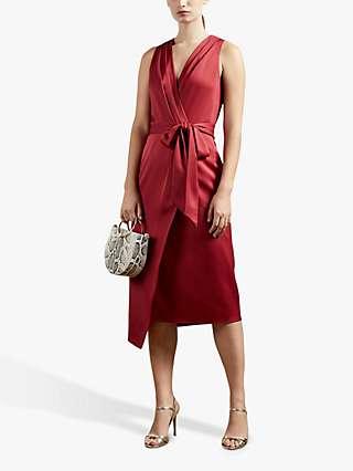 Ted Baker Chrisey Wrap Midi Dress, Red