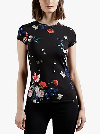 Ted Baker Periie Floral Fitted T-Shirt, Black