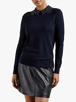 Ted Baker Azaleo Floral Embroidery Collar Jumper, Dark Blue