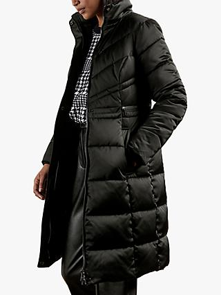 Ted Baker Samira Long Belted Padded Coat, Black