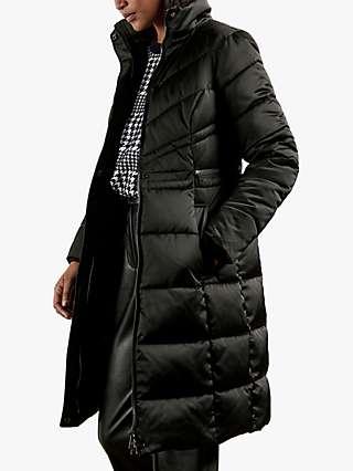 Ted Baker Samira Long Belted Padded Coat, Black
