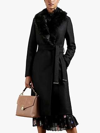 Ted Baker Corinna Faux Fur Coat, Black