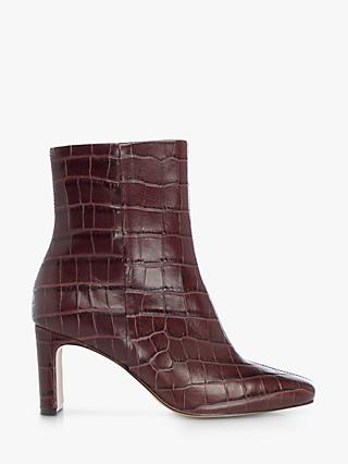 Dune Outshine Leather Croc Ankle Boots, Brown