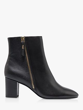 Dune Oricle Leather Side Zip Block Heel Ankle Boots, Black