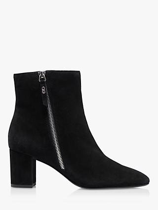Dune Oricle Suede Side Zip Block Heel Ankle Boots, Black