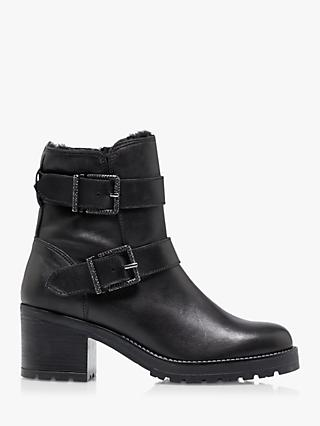Dune Portrait Leather Ankle Boots, Black